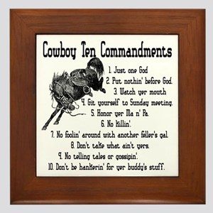 Cowboy Ten Commandments Framed Tile