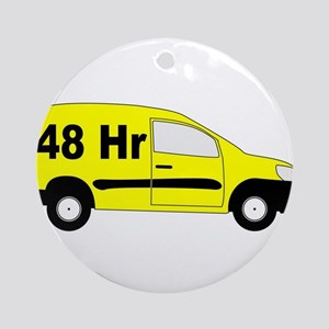 Small Delivery Van With 48 hr Text Round Ornament
