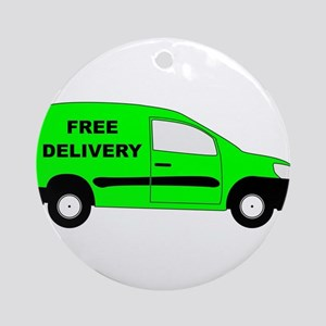 Small Delivery Van With Free Delive Round Ornament