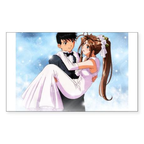 Anime Bride & Groom Rectangle Sticker