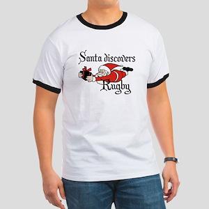 Santa Rugby Christmas Ringer T