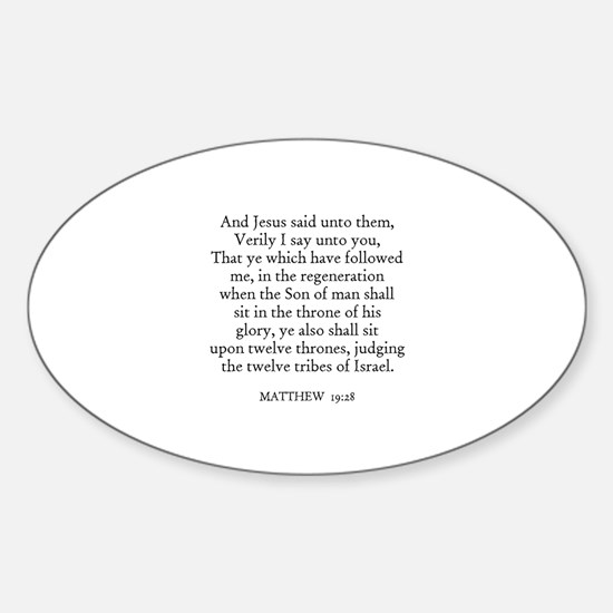 MATTHEW 19:28 Oval Decal