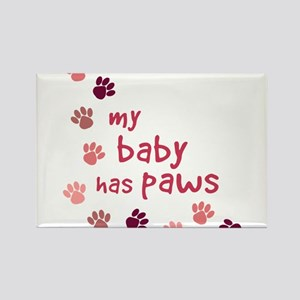 My Baby has Paws Rectangle Magnet