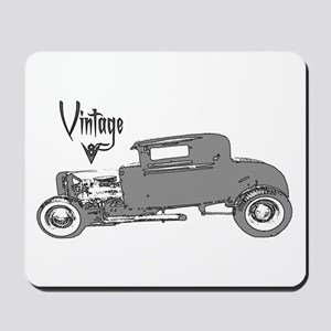 Mousepad-Vintage V8 Hot Rod-Silver