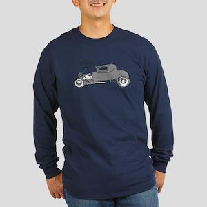 Long Sleeve Dark T-Shirt-Vintage V8 Hot Rod-Silver