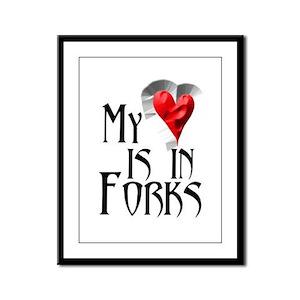 Heart in Forks Framed Panel Print