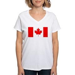 Candian Flag Women's V-Neck T-Shirt