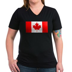 Candian Flag Women's V-Neck Dark T-Shirt