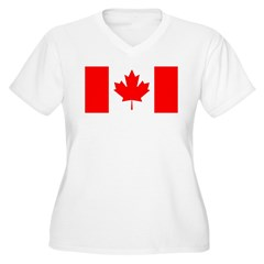 Candian Flag Women's Plus Size V-Neck T-Shirt