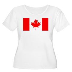 Candian Flag Women's Plus Size Scoop Neck T-Shirt
