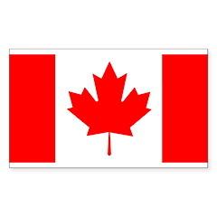 Candian Flag Rectangle Sticker 10 pk)