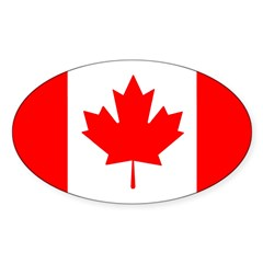 Candian Flag Oval Sticker (10 pk)