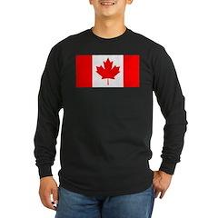 Candian Flag Long Sleeve Dark T-Shirt