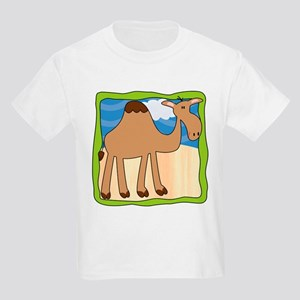 Wandering Camel with Green Border Kids Light T-Shi