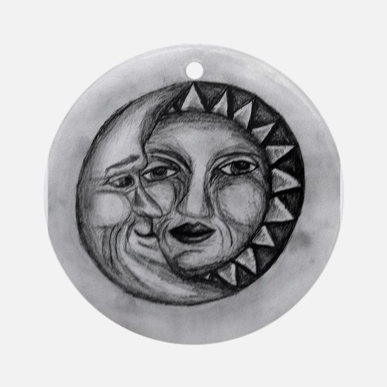 Sun & Moon Drawing Ornament (Round)