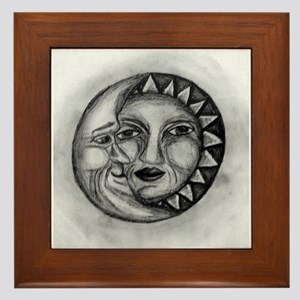 Sun & Moon Drawing Framed Tile