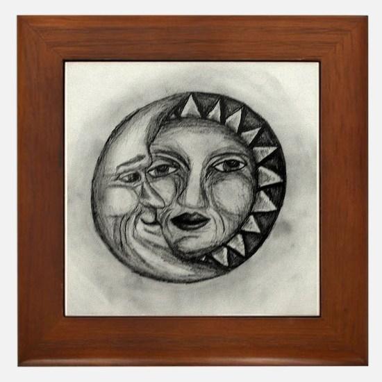 Sun & Moon Drawing Framed Tile