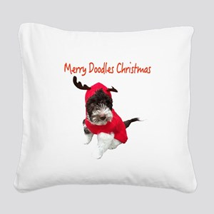 Merry Doodle Christmas Square Canvas Pillow