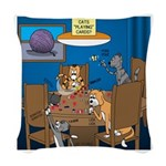 Cards and Cats Woven Throw Pillow