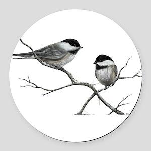chickadee song bird Round Car Magnet