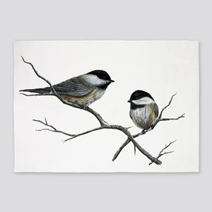 chickadee song birds 5'x7'Area Rug