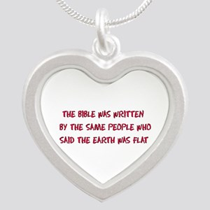 Flat Earth Bible Silver Heart Necklace