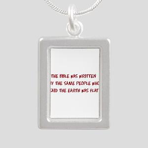 Flat Earth Bible Silver Portrait Necklace