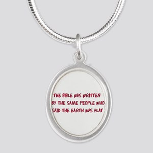 Flat Earth Bible Silver Oval Necklace