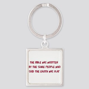 Flat Earth Bible Square Keychain