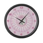 Pink Starburst Yin Yang Large Wall Clock