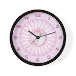 Pink Starburst Yin Yang Wall Clock