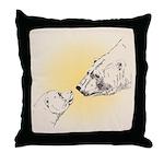 Polar Bear & Cub Throw Pillow