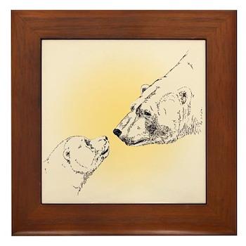 Polar Bear & Cub Framed Tile