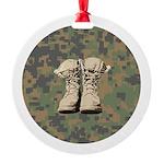 Combat boot design with Digital Camo Ornament
