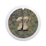 Combat boot design with Digital Camo Round Ornamen