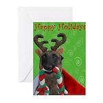 Reindeer Dog Greeting Cards (Pk of 10)