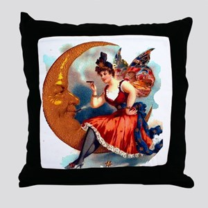 Butterfly Lady on Moon Big 18x18 Throw Pillow