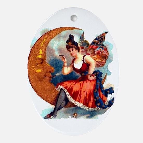 Butterfly Lady on Moon Oval Ornament