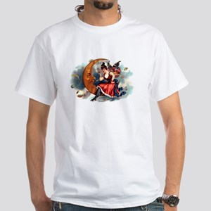 Butterfly Lady on Moon White T-Shirt