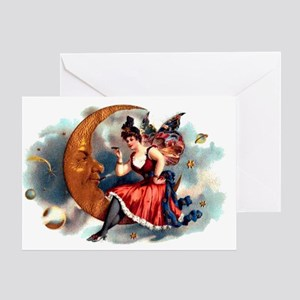 Butterfly Lady on Moon Greeting Card