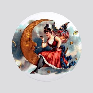 """Butterfly Lady on Moon 3.5"""" Button"""