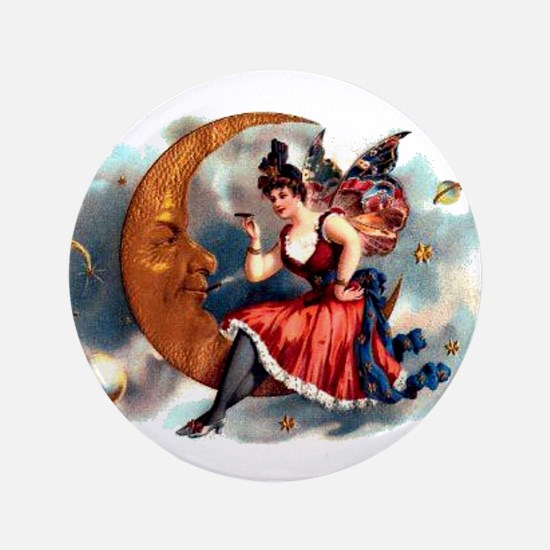"Butterfly Lady on Moon 3.5"" Button"