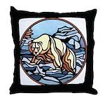 Polar Bear Art Throw Pillow Wildlife Painting