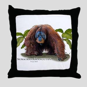 Sumatran Orangutan Throw Pillow