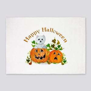 Westie Halloween Pumpkin 5'x7'Area Rug