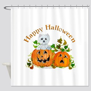 Westie Halloween Pumpkin Shower Curtain
