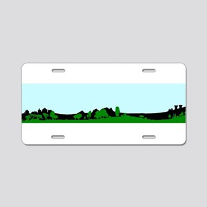 Green Wooded Foreground Wit Aluminum License Plate