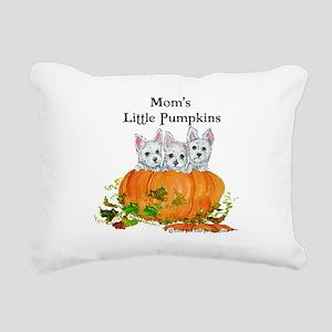 Westie Pumpkin Puppy Rectangular Canvas Pillow