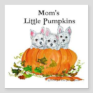 "Westie Pumpkin Puppy Square Car Magnet 3"" x 3"""