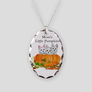 Westie Pumpkin Puppy Necklace Oval Charm
